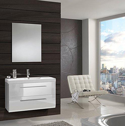 SAM® Badmöbel-Set Zürich, 90 cm, Designer-Badset mit Softclose-Funktion, wahlweise als 2-, 3-, 4- oder 5-teiliges Badmöbelset in 3 verschiedenen Farben