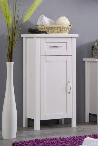 SAM® Design Badezimmer Valencia Badmöbel Unterschrank in weiß, Badschrank aus lackiertem Kiefer, massives Kiefernholz, landhäuslicher Stil, edelstahl-farbene Griffe, viel Stauraum