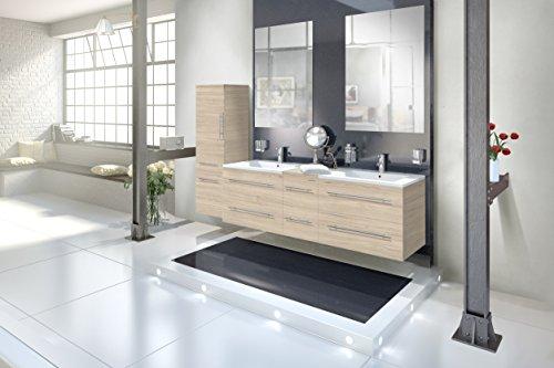 SAM® Design Badmöbel-Set Barcelona 4tlg, in Sonomaeiche, 150 cm, mit Softclosefunktion, Badezimmer-Set bestehend aus 2 x Spiegel, 1 x Doppelwaschplatz, 1 x Hochschrank