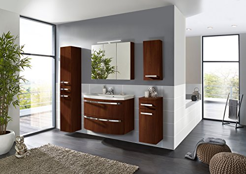 SAM® Design Badmöbel-Set Dynamic, 90 cm, in wenge matt, 5tlg. Badezimmer mit Softclose-Funktion, 1 Waschplatz mit Mineralgussbecken, 1 Spiegelschrank, 1 Hochschrank, 1 Unterschrank, 1 Hängeschrank