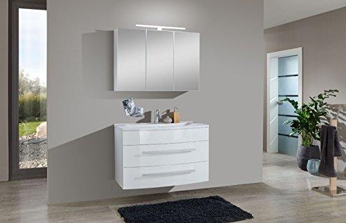 SAM® Design Badmöbel-Set Genf 2tlg, in weiß, 100 cm Breite, Mineralgussbecken, Türen und Schubladen mit Softclose-Funktion, Badezimmer-Set bestehend aus 1 x Spiegelschrank, 1 x Waschplatz