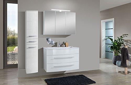 SAM® Design Badmöbel-Set Genf XL 3tlg, in weiß, 100 cm Breite, mit Mineralgussbecken, mit Softclose-Funktion, bestehend aus 1 x Spiegelschrank, 1 x Waschplatz, 1 x Hochschrank XL