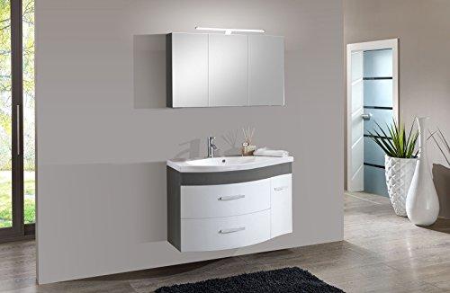 SAM® Design Badmöbel-Set Lugano 2tlg, in weiß-grau, 110 cm Breite, Mineralgussbecken, Softclose-Funktion, Set aus 1 x Spiegelschrank, 1 x Waschplatz