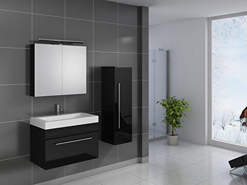 SAM® Design Badmöbel-Set Lunik 3tlg, 80 cm, hochglanz schwarz, mit Mineralguss-Waschbecken, Softclose-Funktion, Badezimmer mit Waschplatz, Spiegelschrank und Hochschrank