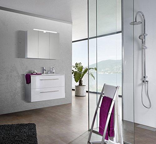 SAM® Design Badmöbel-Set Verena, 90 cm, in Hochglanz weiß, 2tlg. Designer Badezimmer mit Softclose-Funktion, 1 Waschplatz, 1 Spiegelschrank