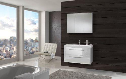 SAM® Design Badmöbel-Set Zürich, 90 cm, in Hochglanz weiß, 2tlg. Badezimmer mit Softclose-Funktion, 1 Waschplatz mit Mineralgussbecken und 1 Spiegelschrank