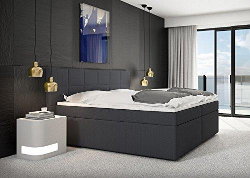 sam design boxspringbett salerno mit nero stoff bezug in anthrazit mit bonellfederkern 7 zonen. Black Bedroom Furniture Sets. Home Design Ideas