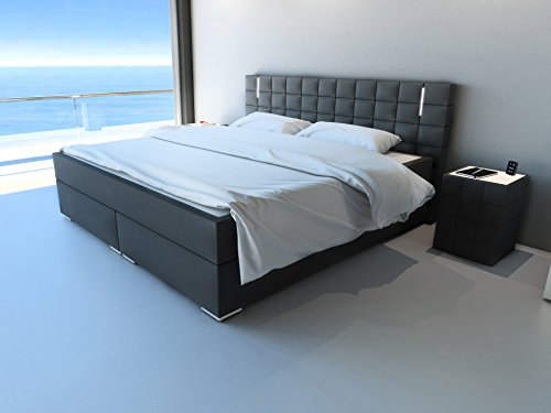 sam design boxspringbett mit neo stoff bezug in anthrazit led beleuchtung bonellfederkern. Black Bedroom Furniture Sets. Home Design Ideas