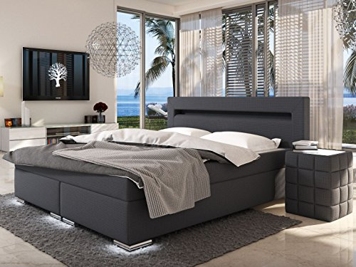 sam design boxspringbett mit neo stoff bezug in anthrazit led beleuchtung an f en kopfteil. Black Bedroom Furniture Sets. Home Design Ideas