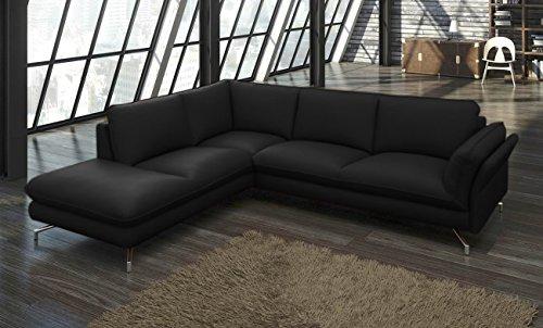 sam design ecksofa vivano in schwarz polsterecke 265 x 220 cm pflegeleichte oberfl che modernes. Black Bedroom Furniture Sets. Home Design Ideas