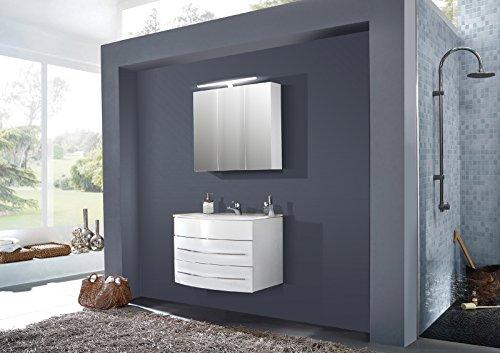 SAM® Design Montagsbad 2tlg. Badmöbel-Set Dublin 120 cm weiß, Softclose-Funktion, 1 Waschplatz mit Keramikbecken und 1 Spiegelschrank