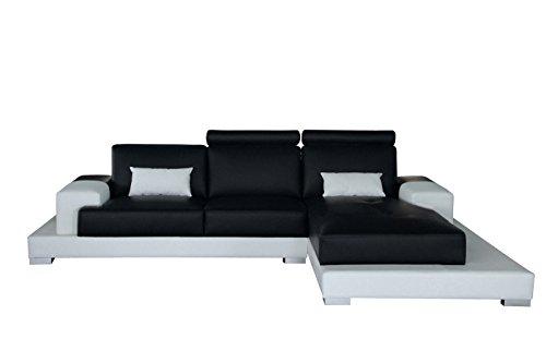SAM® Ecksofa Eleonora schwarz weiß 198 x 124 cm rechts
