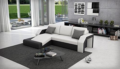 SAM® Ecksofa Milagro 145 x 281 cm in weiß schwarz in einem futuristischen Design verfügt über Strauraum pflegeleichte Oberfläche