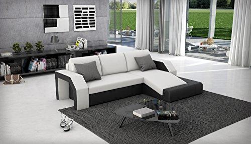 SAM® Ecksofa Milagro 281 x 145 cm in weiß schwarz in einem futuristischen Design verfügt über Strauraum pflegeleichte Oberfläche
