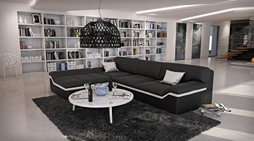 SAM® Ecksofa Mistico schwarz mit weißem Streifen 220 x 270 cm Ottomane links designed by Ricardo Paolo® exklusiv L - Form