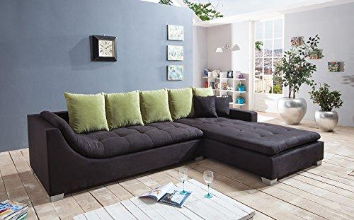 sam ecksofa villa in schwarz mit ottomane rechts r ckenkissen inklusive silber grau. Black Bedroom Furniture Sets. Home Design Ideas