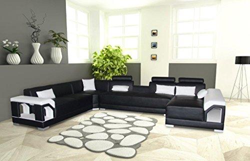 SAM® Ecksofa Zippora schwarz weiß 166 x 390 x 274 cm links