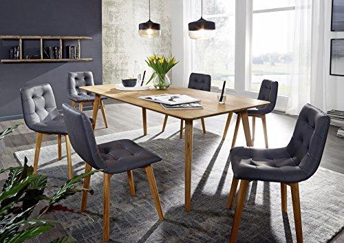 SAM® Holztisch aus Kernbuche, Küchentisch geölt, 180 x 90 cm, quadratischer Echtholz-Tisch, massiv und pflegeleicht, stabverleimt, individuelles Unikat