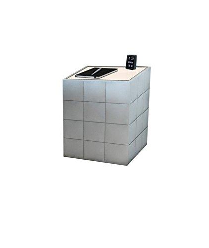 SAM® Nachtkommode, Samolux®-Bezug, abgesteppt, in weiß, LED beleuchtete Tischplatte, eleganter Nachttisch, Nachtkasten zu Boxspringbett, modernes Design, 42 x 42 cm