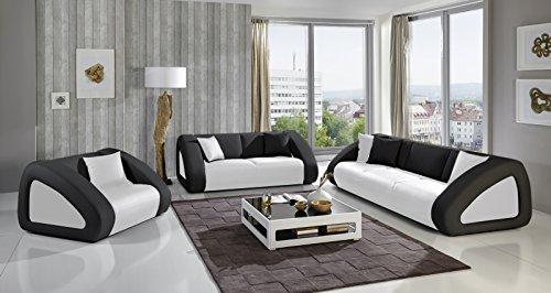 Sam sofa garnitur ciao combi 3 2 1 wei schwarz for Couchlandschaft xxl