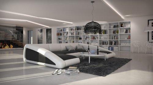 Sam sofa garnitur schwarz wei wei ciao rechts 205 x for Couchlandschaft xxl
