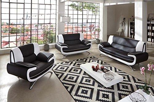sam stilvolle sofa garnitur passero combi 3 2 1 schwarz wei wohnlandschaft mit. Black Bedroom Furniture Sets. Home Design Ideas