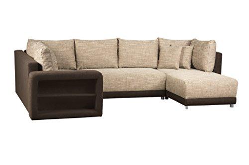 Sofa U Form / Wohnlandschaft mit Bettfunktion und Bettkasten / Ottomane rechts oder links montierbar / Strukturstoff und Microfaser / Mit Regal in Armlehne