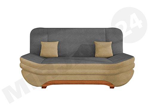 Sofa Weronika Style mit Bettkasten und Schlaffunktion, Couch vom Hersteller, Microfaser, Schlafcouch, Schlafsofa, Wohnlandschaft