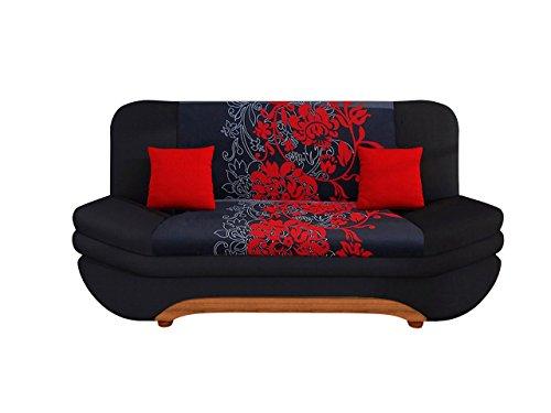 Sofa Weronika Sving mit Bettkasten und Schlaffunktion, Bettsofa mit Blumenmuster, Couch vom Hersteller, Schlafcouch, Schlafsofa, Wohnlandschaft