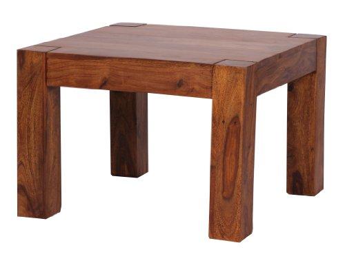 Wohnling Couchtisch Massiv-Holz 60 cm breit Wohnzimmer-Tisch Design Landhaus-Stil Beistelltisch Natur-Produkt Wohnzimmermöbel Unikat modern Massivholzmöbel Echtholz quadratisch braun