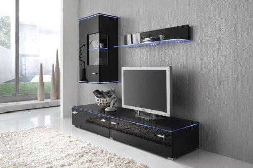 Wohnwand Anbauwand schwarz, Fronten schwarz hochglanz, optional LED-Beleuchtung, Beleuchtung:ohne Beleuchtung