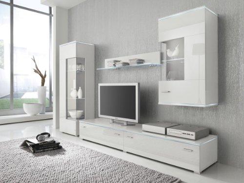 Wohnwand Anbauwand weiß, Fronten hochglanz, optional LED-Beleuchtung, Beleuchtung:Beleuchtung Weiß