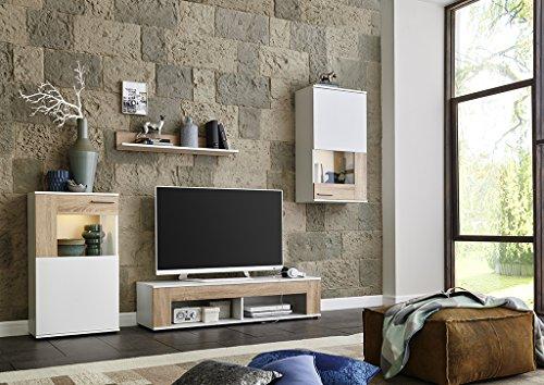 Wohnwand Schrankwand Wohnzimmerschrank Mediawand Anbauwand TV-Element TAMPA in weiß matt / Sonoma Eiche inkl. LED Beleuchtung Made in Germany