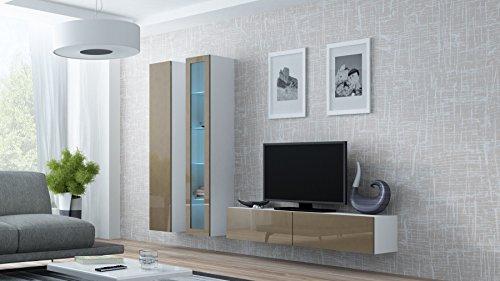 Wohnwand VIGO 10, Anbauwand, Wohnzimmer Möbel, Hochglanz !!! LED Beleuchtung !!!
