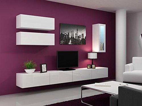 Wohnwand VIGO 12, Anbauwand, Wohnzimmer Möbel, Hochglanz !!! LED Beleuchtung !!!
