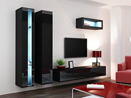 Wohnwand VIGO NEW2, Anbauwand, Wohnzimmer Möbel, Hochglanz !!! Mit LED Beleuchtung !!!