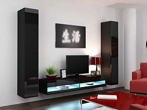 wohnwand vigo new4 anbauwand wohnzimmer m bel hochglanz mit led beleuchtung m bel24. Black Bedroom Furniture Sets. Home Design Ideas