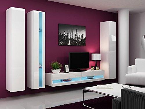 Wohnwand VIGO NEW7, Anbauwand, Wohnzimmer Möbel, Hochglanz !!! Mit LED Beleuchtung !!!
