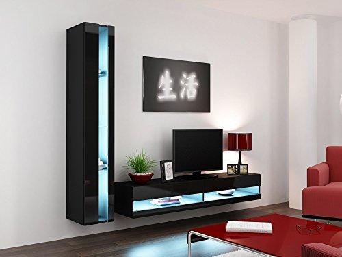 Wohnwand VIGO NEW8, Anbauwand, Wohnzimmer Möbel, Hochglanz !!! Mit LED Beleuchtung !!!