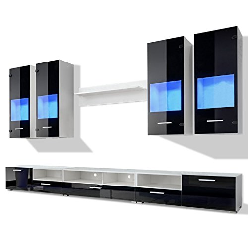 vidaxl 8tlg hochglanz wohnwand anbauwand tv board. Black Bedroom Furniture Sets. Home Design Ideas