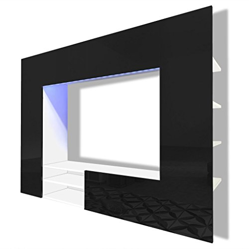 vidaxl hochglanz wohnwand mediawand anbauwand schrankwand. Black Bedroom Furniture Sets. Home Design Ideas
