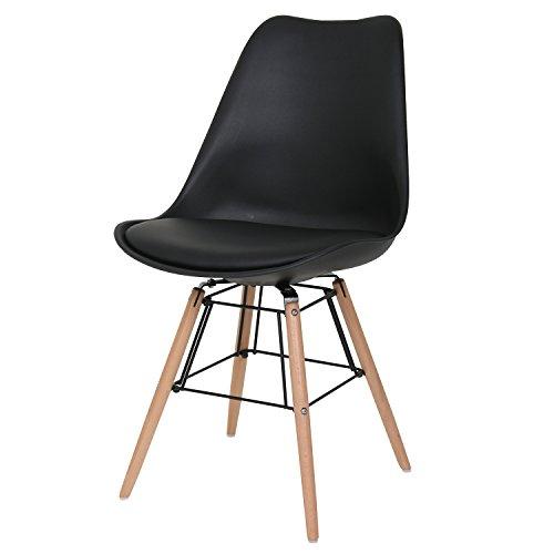BUTIK FL20371-2 Esszimmerstuhl, Holz, schwarz, 48 x 39 x 83 cm