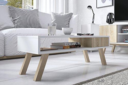 Vero Wood – Couchtisch / Beistelltisch mit Ablage und Schublade (Weiß Matt/Sonoma Eiche, Beine aus Buchenholz, Eckig, 80x40 cm)