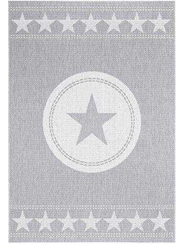 benuta In- & Outdoor Teppich Essenza Star Grau 120x170 cm | Pflegeleichter Teppich geeignet für Innen- und Außenbreich, Balkon und Terrasse