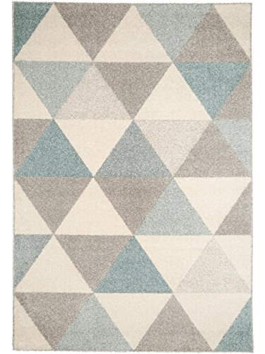 benuta Teppich Pastel Geomet Türkis 80x150 cm | Moderner Teppich für Wohn- und Schlafzimmer
