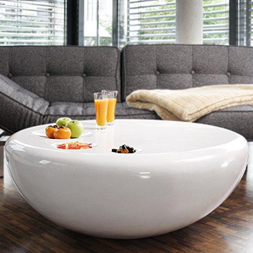 Couch-Tisch weiß Hochglanz rund aus Fiberglas Durchmesser