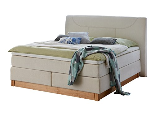 Atlantic Home Collection BELLA Boxspringbett, 7-Zonen Taschenfederkern, 180 x 200 cm, Stoff, creme