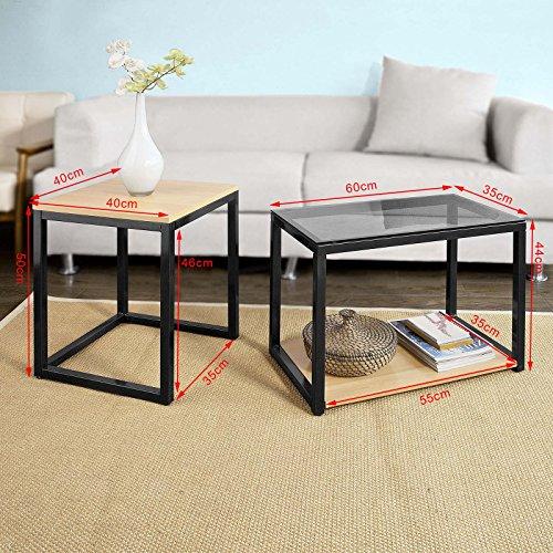 sobuy 2er set couchtisch beistelltisch 2 teilig satztisch sofatisch fbt35 sch m bel24. Black Bedroom Furniture Sets. Home Design Ideas