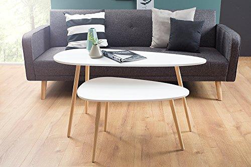 retro couchtisch stockholm 115cm wei pinie nierenf rmig beistelltisch holztisch tisch m bel24. Black Bedroom Furniture Sets. Home Design Ideas