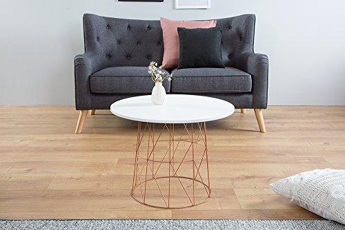 moderner couchtisch beistelltisch wire tea table metallgestell in kupfer tischplatte in wei. Black Bedroom Furniture Sets. Home Design Ideas